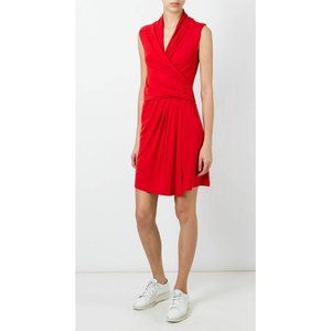 Carven Red Ruched Crossover Dress Size XS. NEW